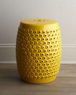 Yellow Pierced Ceramic Stool