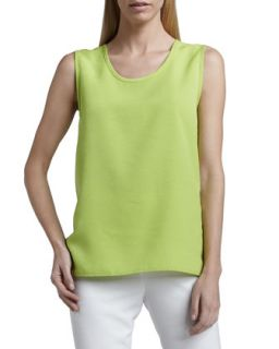 Womens Shantung Longer Cut Tank   Caroline Rose   Lime (LARGE (12/14))