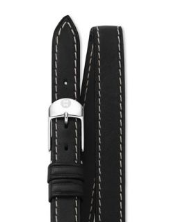 12mm Double Wrap Leather Strap, Black   MICHELE   Black (12mm )
