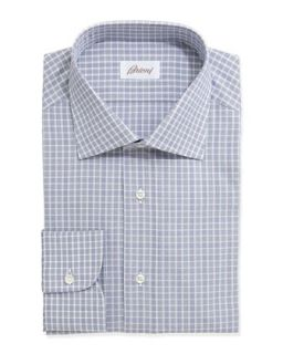 Mens Check Plaid Long Sleeve Poplin Dress Shirt, Blue   Brioni   Blue (41/16L)