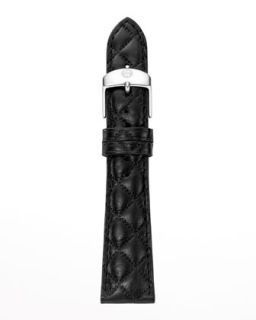 20mm Quilted Leather Watch Strap, Black   MICHELE   Black (20mm )