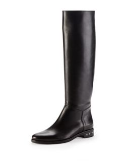 Screw Heel Leather Knee Boot, Black   Lanvin   Black (40.0B/10.0B)