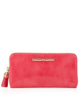Patent Leather Continental Wallet, Pink   Elaine Turner