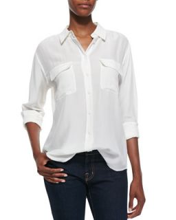 Womens Signature Double Pocket Blouse, Bright White   Equipment   Bright white
