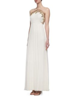 Womens Sleeveless Embroidered Bodice Grecian Gown, Cream/Gold   Phoebe by Kay