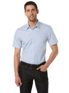 Perry Ellis Mens Slim Fit Short Sleeve Plaid Shirt