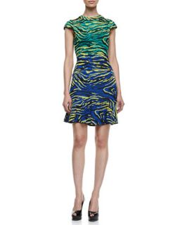 Womens Cap Sleeve Zebra Jacquard Dress, Multicolor   M Missoni   Black (44/8)