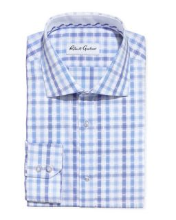Mens Ethan Multi Plaid Dress Shirt, Blue   Robert Graham   Blue (15)