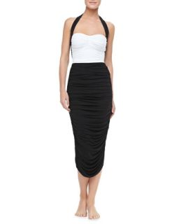 Womens Ruched Mid Calf Coverup Skirt   Norma Kamali   Black (X SMALL)