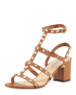 Rockstud Low Heel Cage Sandal   Valentino   Light brown (36.0B/6.0B)