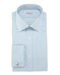 Mens Striped Dress Shirt, Green/White   Charvet   Green/White (16.5R)