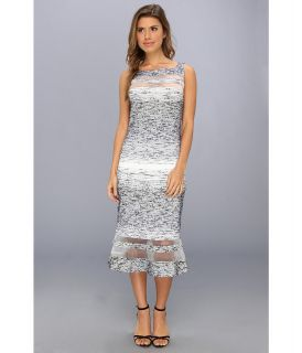 Badgley Mischka Boucle Strip Cocktail Dress Womens Dress (Navy)