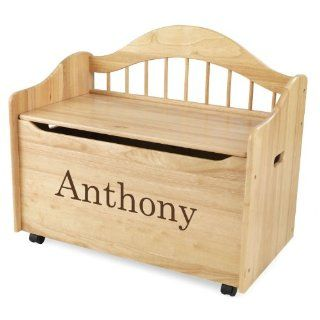 KidKraft Personalized Limited Edition Toy Box Natural Brown Library Font,Anthony Toys & Games