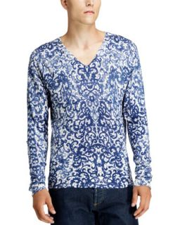 Mens Lace Print V Neck Sweater, White/Blue   Alexander McQueen   White/Blue