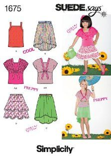 Simplicity 1675 Girls' Tops SUEDEsays Collection Sewing Pattern, Size A (8 10 12 14 16)