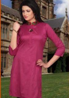 Fuchsia Rose Colour Silk Cotton Evening Wear Kurta (XL) at  Women�s Clothing store: Blouses