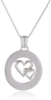 "Sterling Silver ""Marvelous, Original, True Blue, Heaven Sent, Encouraging, Ray Of Sunshine"" Double Heart Pendant Necklace, 18"": Heart Necklaces For Women: Jewelry"