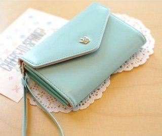 Fashion Korean Cute Envelope Wallet Case for Samsung Galaxy S4,s3,s2,iphone 5,4s/4 (Sent Gift) (sky blue): Cell Phones & Accessories