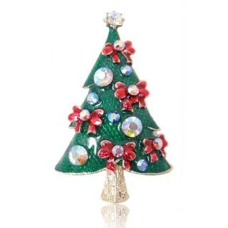 Christmas Tree Bowknot Red Enamel Austrian Crystal Brooch: Jewelry