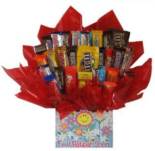 Chocolate Candy bouquet in a Feel Better Soon Get Well box  Other Products