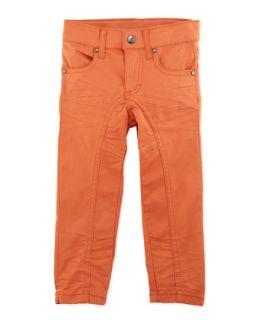 Bright Slim Leg Pants, Orange, 12 24 Months