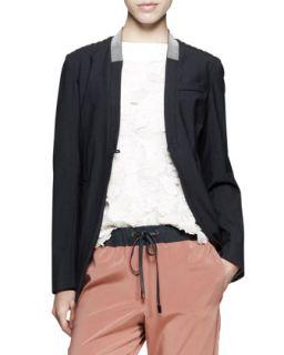 Monili Collar Cutaway Jacket   Brunello Cucinelli