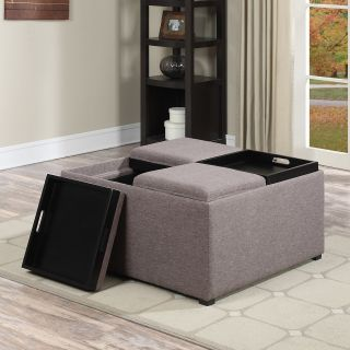 Simpli Home Avalon Linen Coffee Table Storage Ottoman   Ottomans