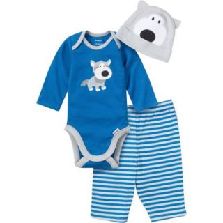 Gerber Baby Newborn Boy 3 Piece Husky Bodysuit, Pant and Cap Set