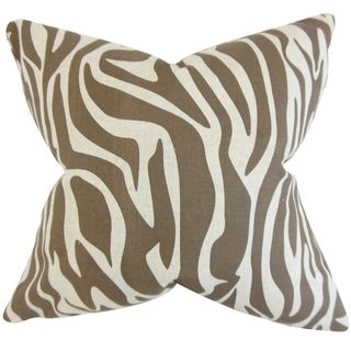 Dari Brown Zebra Print 18 inch Feather Filled Throw Pillow
