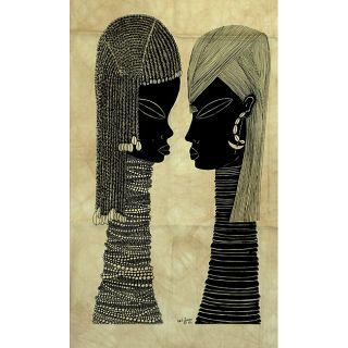 Heidi Lange Samburu Couple Unframed Batik Cotton Screen Print (Kenya