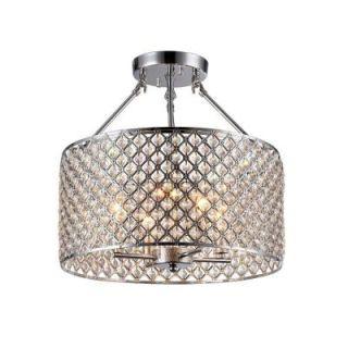 Kirsten 4 Light Chrome Indoor Crystal Semi Flush Mount Light RL8068