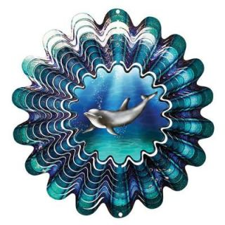 Iron Stop 10 in. Animated Dolphin Wind Spinner DA160 10