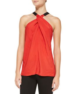 Ramy Brook Lisa Cross Neck Satin Top