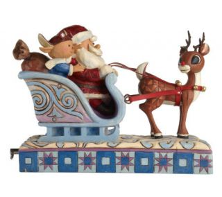 Jim Shore Rudolph theRed Nosed Reindeer with Sleigh Figurine —