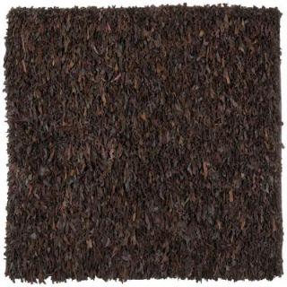 Safavieh Leather Shag Dark Brown 8 ft. x 8 ft. Square Area Rug LSG421D 8SQ