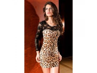 Sexy Women Lace Sheer Leopard Dress Bar Nightclubs Costume One Size
