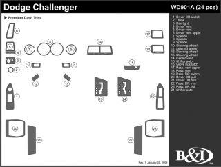 2008 2014 Dodge Challenger Wood Dash Kits   B&I WD901A DCF   B&I Dash Kits