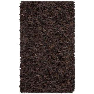Safavieh Leather Shag Dark Brown 4 ft. x 6 ft. Area Rug LSG421D 4   Mobile