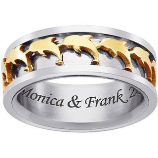 Personalized Men's Stainless Steel Two Tone Dolphin Spinner Ring