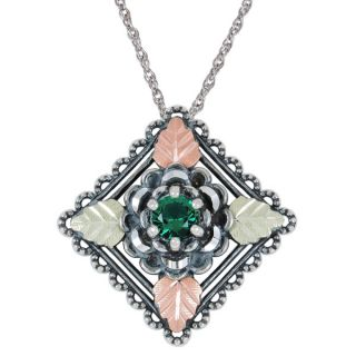 Black Hills Gold and Silver Emerald Obsidianite Necklace   16234265