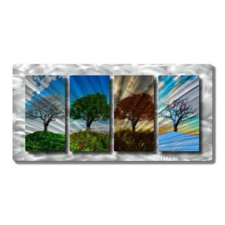 Four Seasons by Ash Carl Original Painting on Metal Plaque