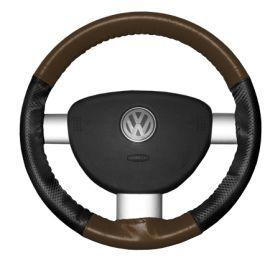 2015 Toyota Sienna Leather Steering Wheel Covers   Wheelskins Brown/Black Perf 15 1/4 X 4 1/2   Wheelskins EuroPerf Perforated Leather Steering Wheel Covers
