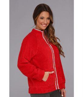 Carole Hochman Fresco Roses Zip Bed Jacket Crimson Red