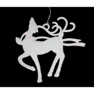 "5.25"" Winter Frost Standing Proud White Glitter Reindeer Christmas Ornament"