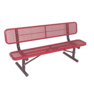 Ultra Play 6 ft. Diamond Red Portable Commercial Park Bench with Back Surface Mount PBK940P V6R
