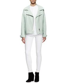 J Brand Jeans Durham Leather Zip Jacket, Giles Sleeveless Flap Panel Blouse & Maria High Rise Skinny Jeans