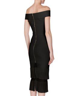 Roland Mouret Amery Off The Shoulder Sheath Dress, Black