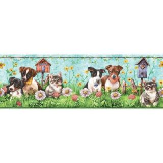 The Wallpaper Company 8 in. x 10 in. Brightly Colored Puppies and Kittens Border Sample WC1285027S