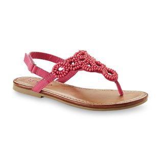 Bongo Girls Shannon Pink Beaded T Strap Sandal   Clothing, Shoes