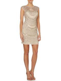Lace and Beads Cap sleev teardrop full beaded dress